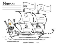 The Sound of Letter N-- Picture of Ship Worksheet