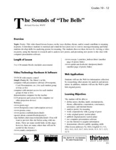 "The sounds of ""The Bells"" Lesson Plan"