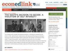 The South's Decision to Secede:  A Violation of Self Interest? Lesson Plan