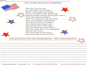 Printables Star Spangled Banner Worksheet the star spangled banner 3rd 4th grade worksheet lesson planet worksheet