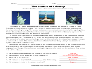 The Statue of Liberty 4th - 5th Grade Worksheet | Lesson ...