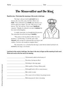 The Stonecutter and the King Worksheet