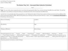 The Stories They Tell -- Graveyard Data Collection Worksheet Worksheet