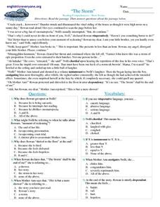 The Storm Reading Comprehension - Short Stories Worksheet