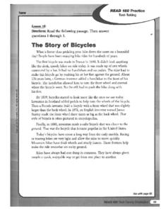 The Story of Bicycles: Test-Taking Strategies Worksheet