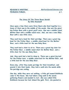 The Story Of The Three Bears Retold Worksheet