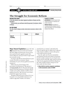The Struggle for Economic Reform in Russia Worksheet