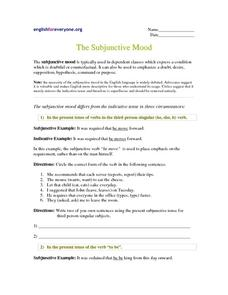 the subjunctive mood 4th 6th grade worksheet lesson planet. Black Bedroom Furniture Sets. Home Design Ideas