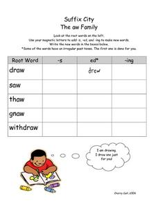 The Suffix Family- The aw family Worksheet