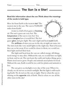 The Sun Is a Star! Worksheet