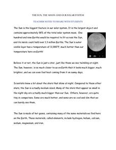 The Sun, Moon, and Our Solar System: Teacher/Student Notes Worksheet