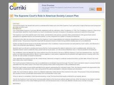 The Supreme Court's role in American Society Lesson Plan