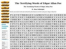 the terrifying words of edgar allan poe 9th higher ed worksheet lesson planet. Black Bedroom Furniture Sets. Home Design Ideas