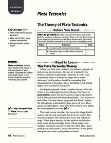The Theory of Plate Tectonics Worksheet
