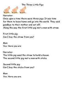 The Three Little Pigs Play Worksheet