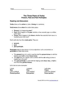The Three Parts of Verbs: Present, Past and Past Participles Worksheet