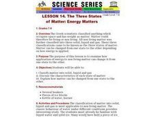The Three States of Matter: Energy Matters Lesson Plan
