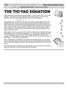 The Tic Tac Equation Lesson Plan