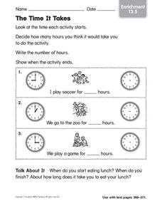 The Time it Takes Worksheet