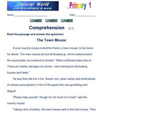 The Town Mouse: Comprehension Worksheet