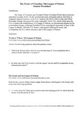 the treaty of versailles the league of nations student worksheet 9th 12th grade worksheet. Black Bedroom Furniture Sets. Home Design Ideas
