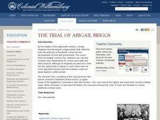 The Trial of Abigail Briggs Lesson Plan