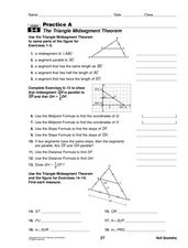 The Triangle Midsegment Theorem 10th Grade Worksheet  Lesson Planet