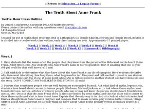 The Truth About Anne Frank Lesson Plan