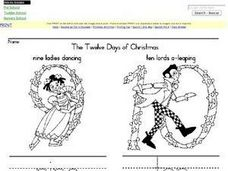 The Twelve Days of Christmas-- 9,10,11,12 Worksheet