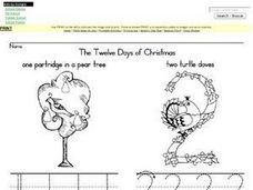 The Twelve Days of Christmas Printing Practice 1-4 Worksheet