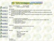 The Twits Introduction and Vocabulary Lesson Plan