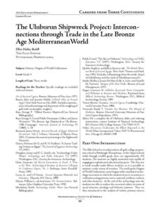 The Uluburun Shipwreck Project: Interconnections through Trade in the Late Bronze Age Mediterranean World Lesson Plan