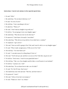 The Unhappy Mother-in-Law Worksheet