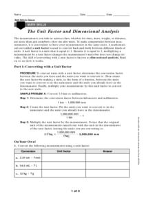 The Unit Factor and Dimensional Analysis Worksheet