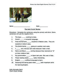 "The Verb ""To Be"" Review Worksheet"