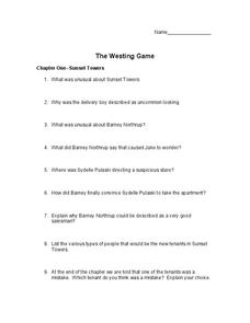 Worksheets The Westing Game Worksheets the westing game chapters 1 4 10th 11th grade worksheet worksheet