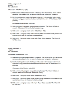 the wizard of oz writing assignment 1 menu 9th grade worksheet lesson planet. Black Bedroom Furniture Sets. Home Design Ideas