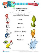 The Wonderful World of Dr. Seuss! Worksheet