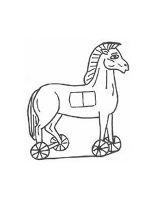 The Wooden Horse Coloring Sheet Worksheet