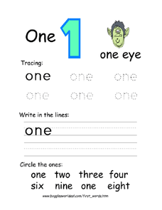 "The Word ""One"" Worksheet"