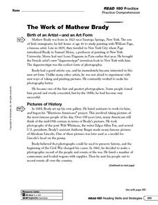 The Work of Mathew Brady: Summarize Worksheet