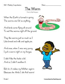 The Worm: Reading Comprehension Worksheet