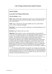 The Writings of Robert Boyle Lesson Plan