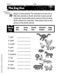 The Zog Zoo Worksheet