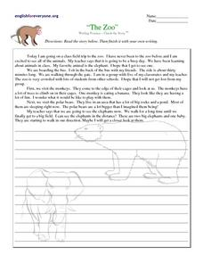 The Zoo: Writing Activity Worksheet