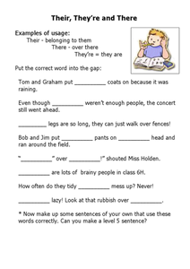 Their, They're, and There Worksheet