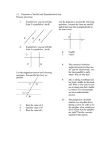 Theorems of Parallel and Perpendicular Lines Worksheet