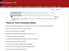 """There Is"" Error Correction Sheet Worksheet"