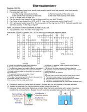 Thermochemistry 9th - Higher Ed Worksheet | Lesson Planet