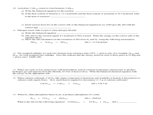 Thermochemistry Problems Worksheet Two - Key - kEY Thermochemistry ...